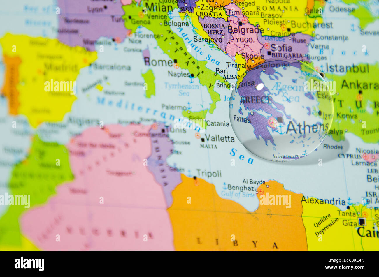 Crystal ball over greece on world map stock photo 39766181 alamy crystal ball over greece on world map gumiabroncs Images
