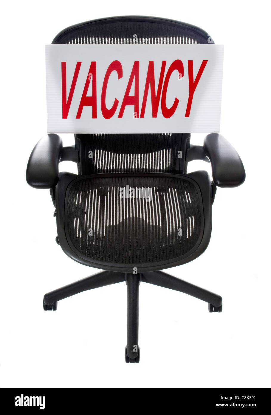 Ergonomic Office Chair with Vacancy Sign. Great for unemployment or recruitment issues. Use Your Own Text! - Stock Image