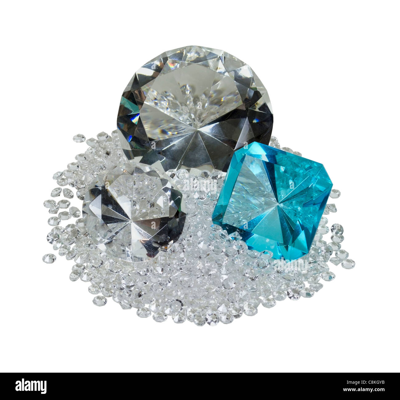 Large and small diamonds and gem with facets that sparkle brightly in the light - path included - Stock Image
