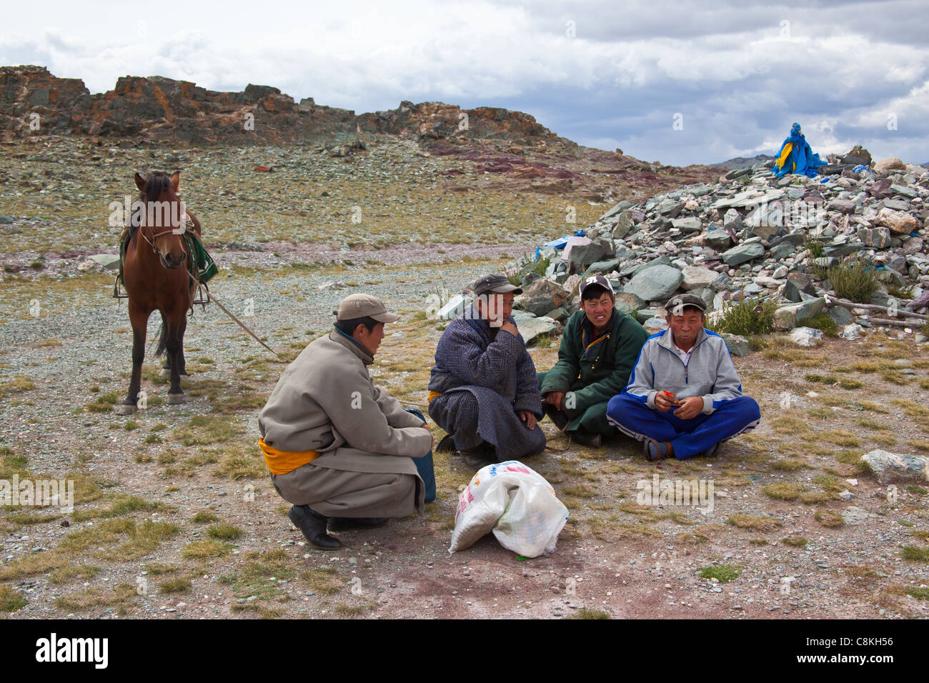 A group of Mongolian nomads taking a break in Mongolia. - Stock Image
