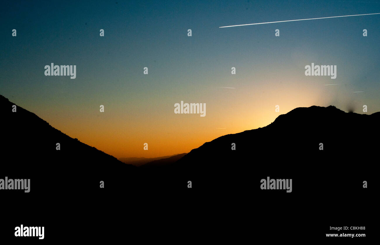 Sunset & Contrail over Kings Canyon, California, USA - Stock Image