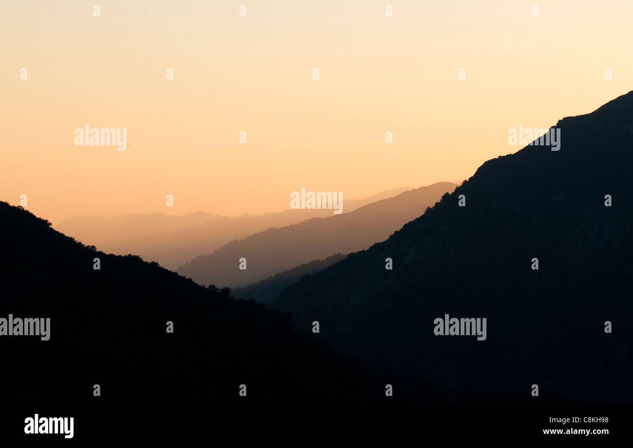 Sunset over King's Canyon, California, USA - Stock Image