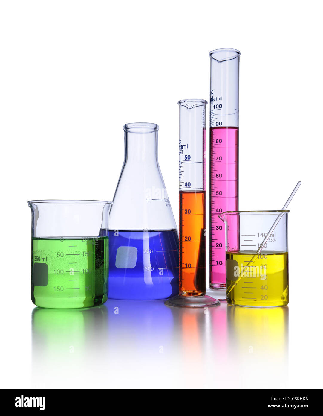 Laboratory glassware isolated over white background - With clipping path - Stock Image