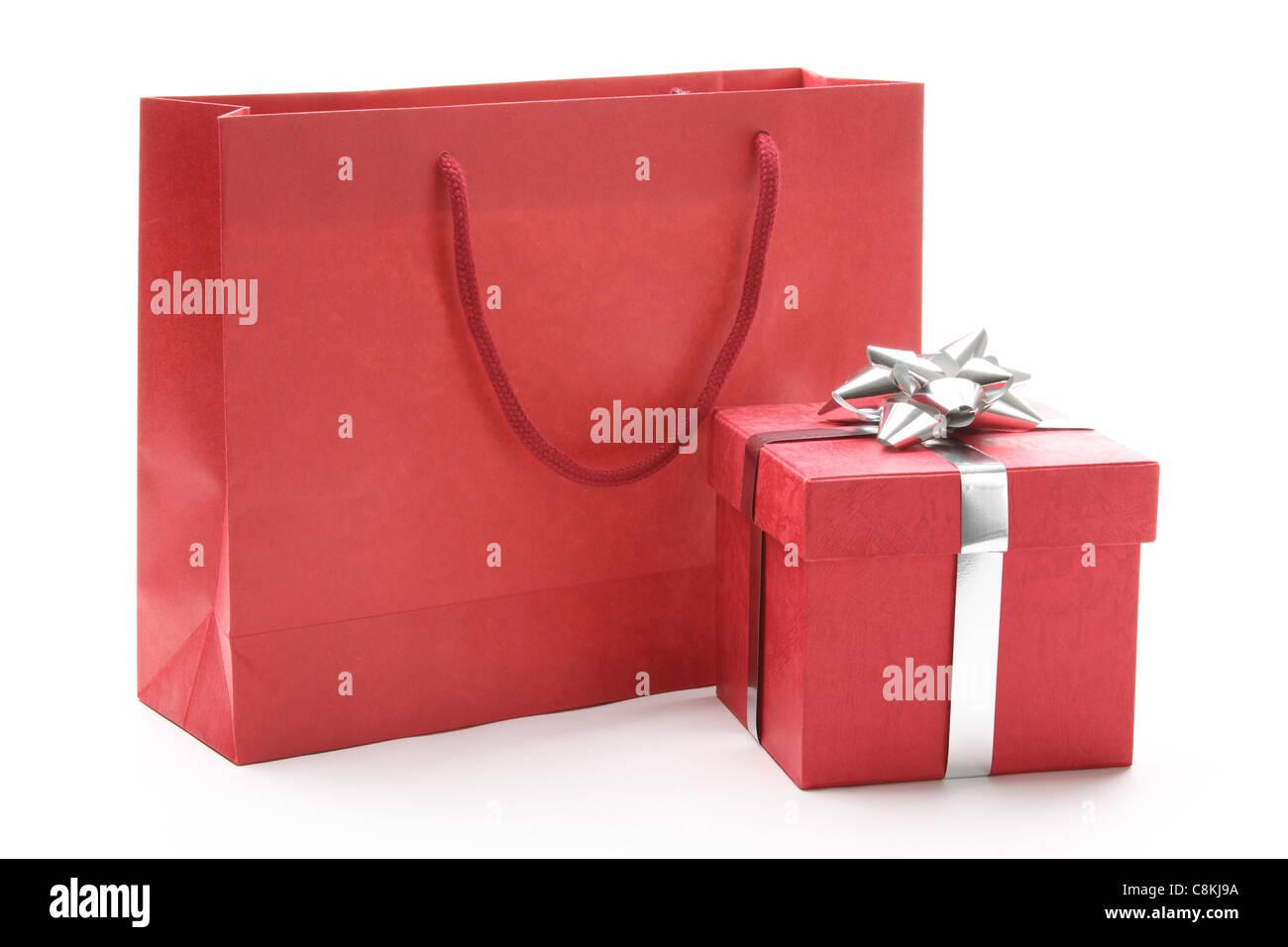 850fbc9ef8 Gift bag and gift box isolated on white background - Stock Image