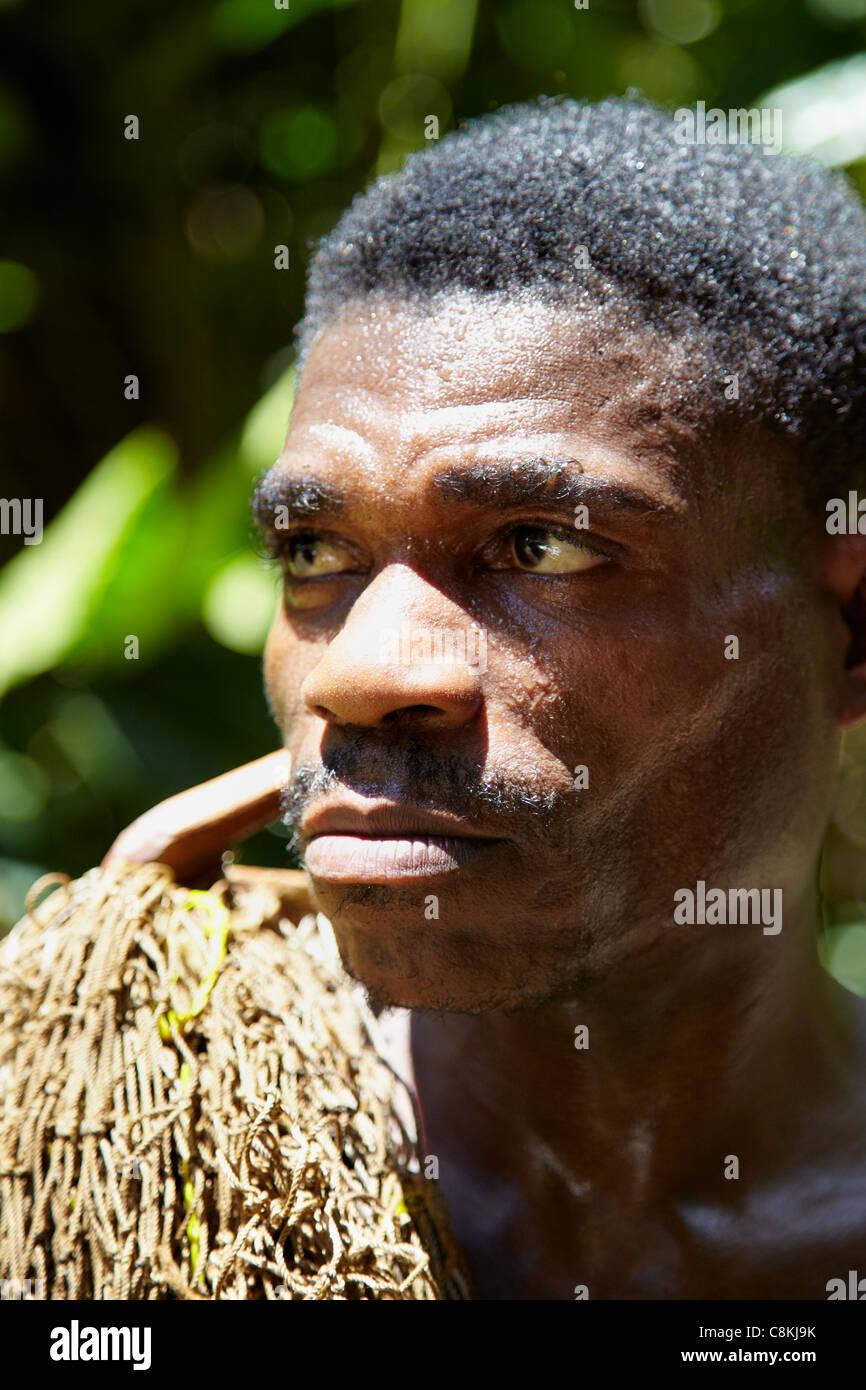 Baaka Pygmy Hunter Portrait, Dzanga Sangha Reserve, Central African Republic, Africa - Stock Image