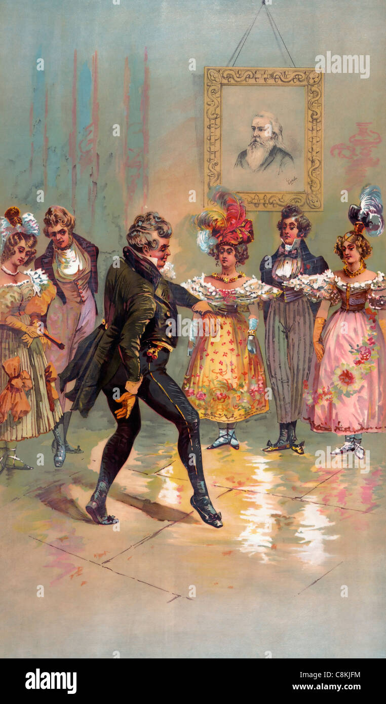 Olden times -aristocrat dancing circa 1888 - Stock Image