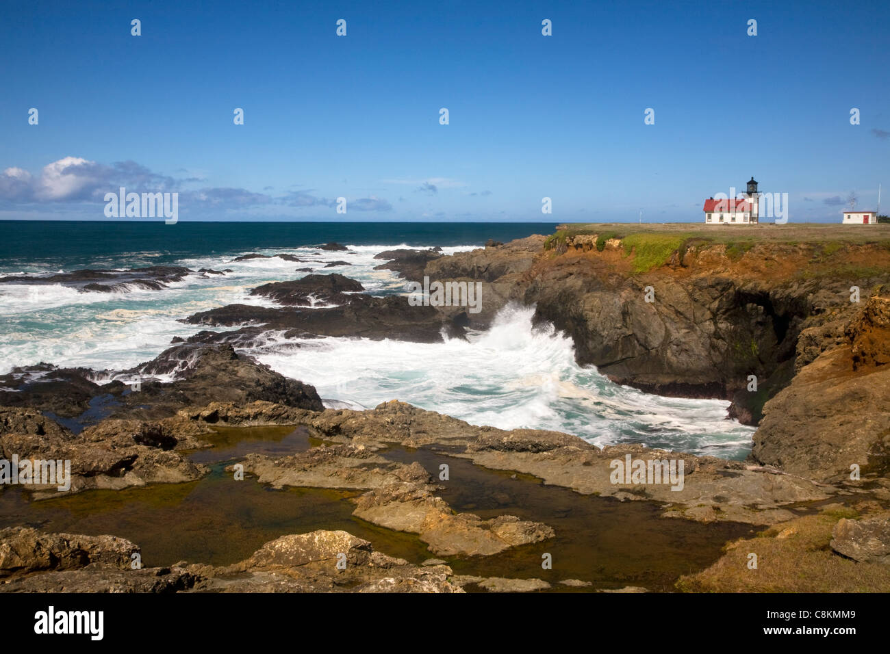 CALIFORNIA - Point Cabrillo Lighthouse on the Pacific Coast north of Mendocino in Point Cabrillo Light State Historic - Stock Image