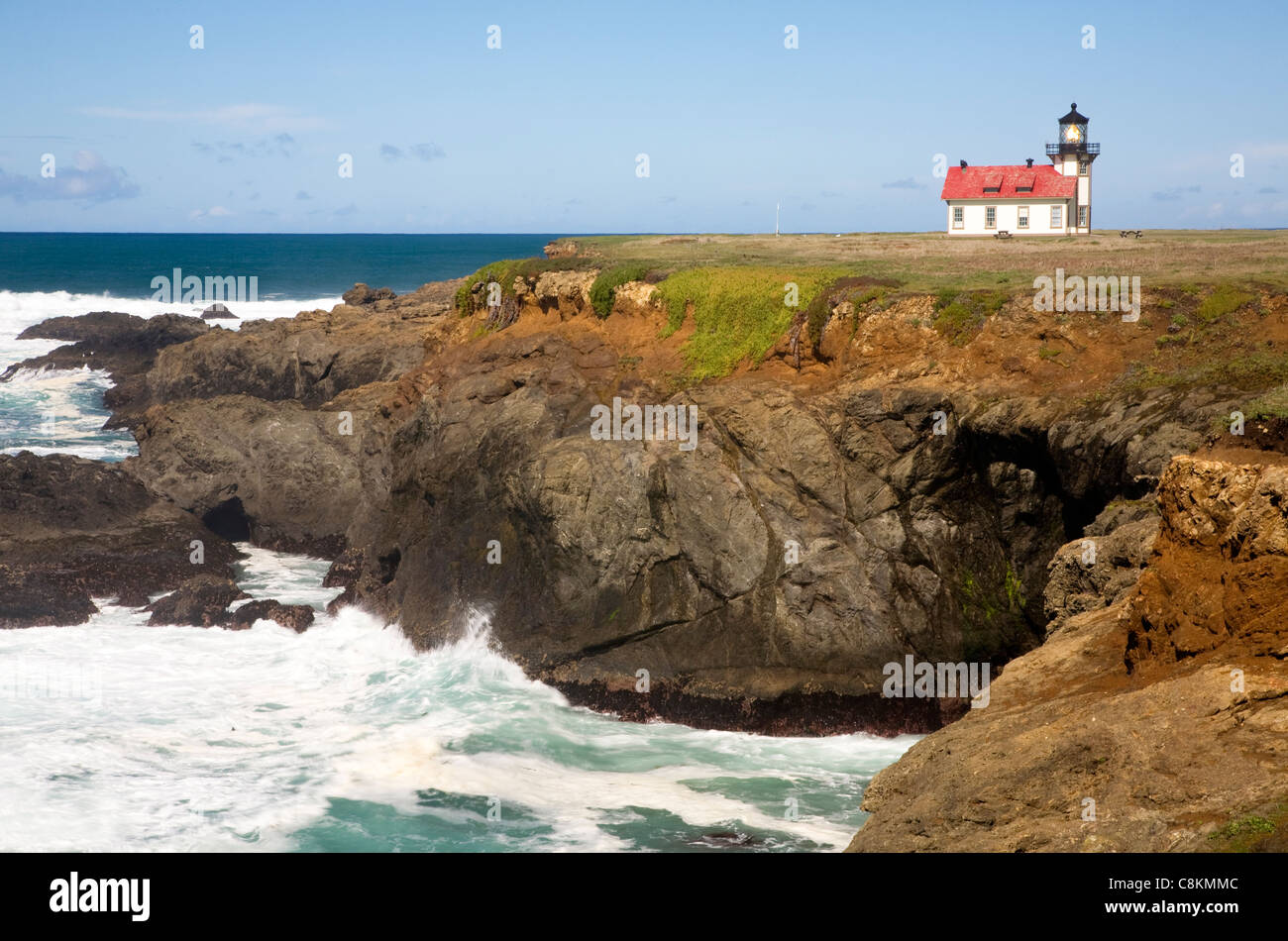 CALIFORNIA - Point Cabrillo Lighthouse on the Pacific Coast north of Mendocino in Point Cabrillo Light State Historical - Stock Image