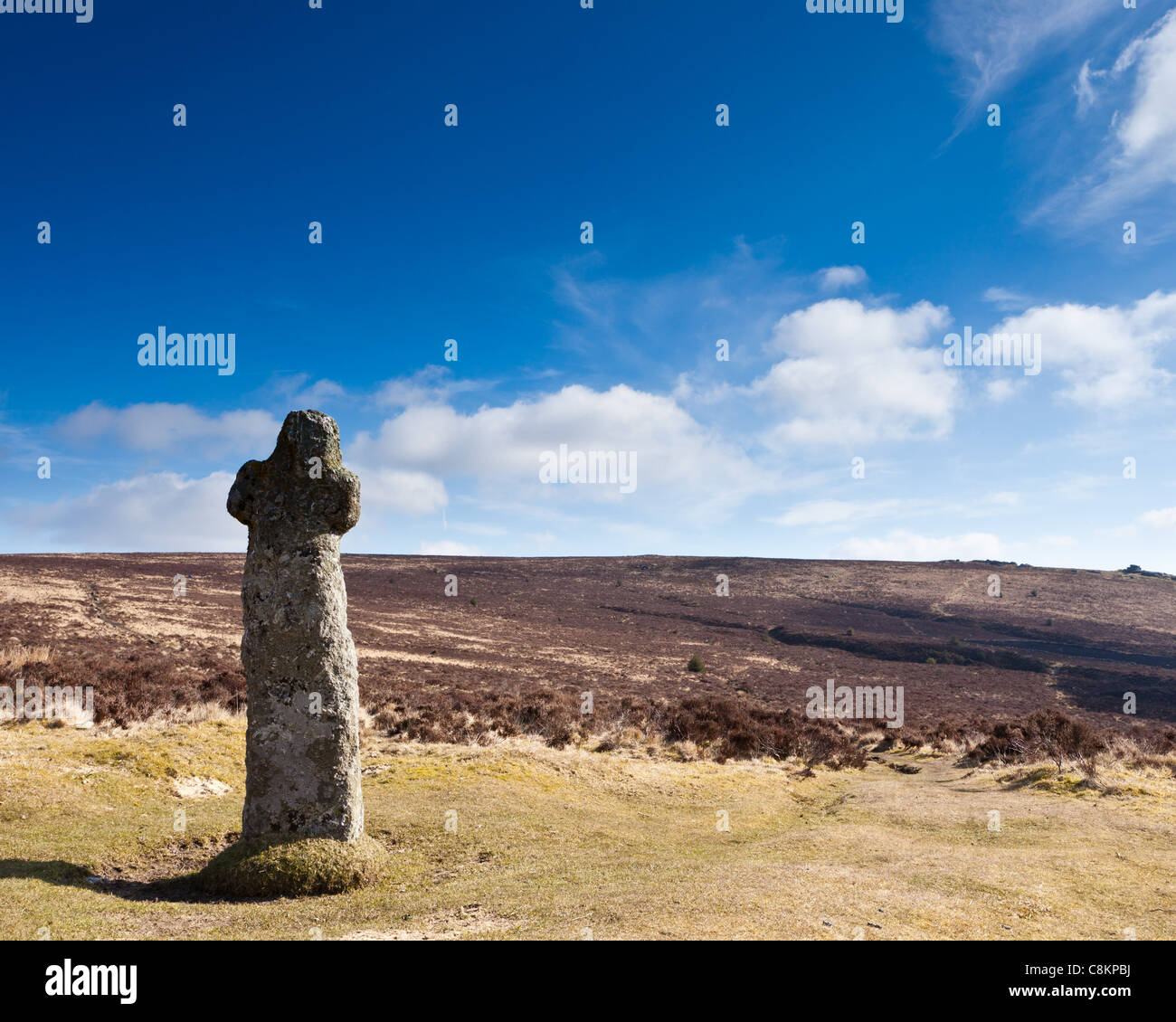 Bennetts Cross at Headland Warren, Dartmoor National Park, Devon England UK - Stock Image