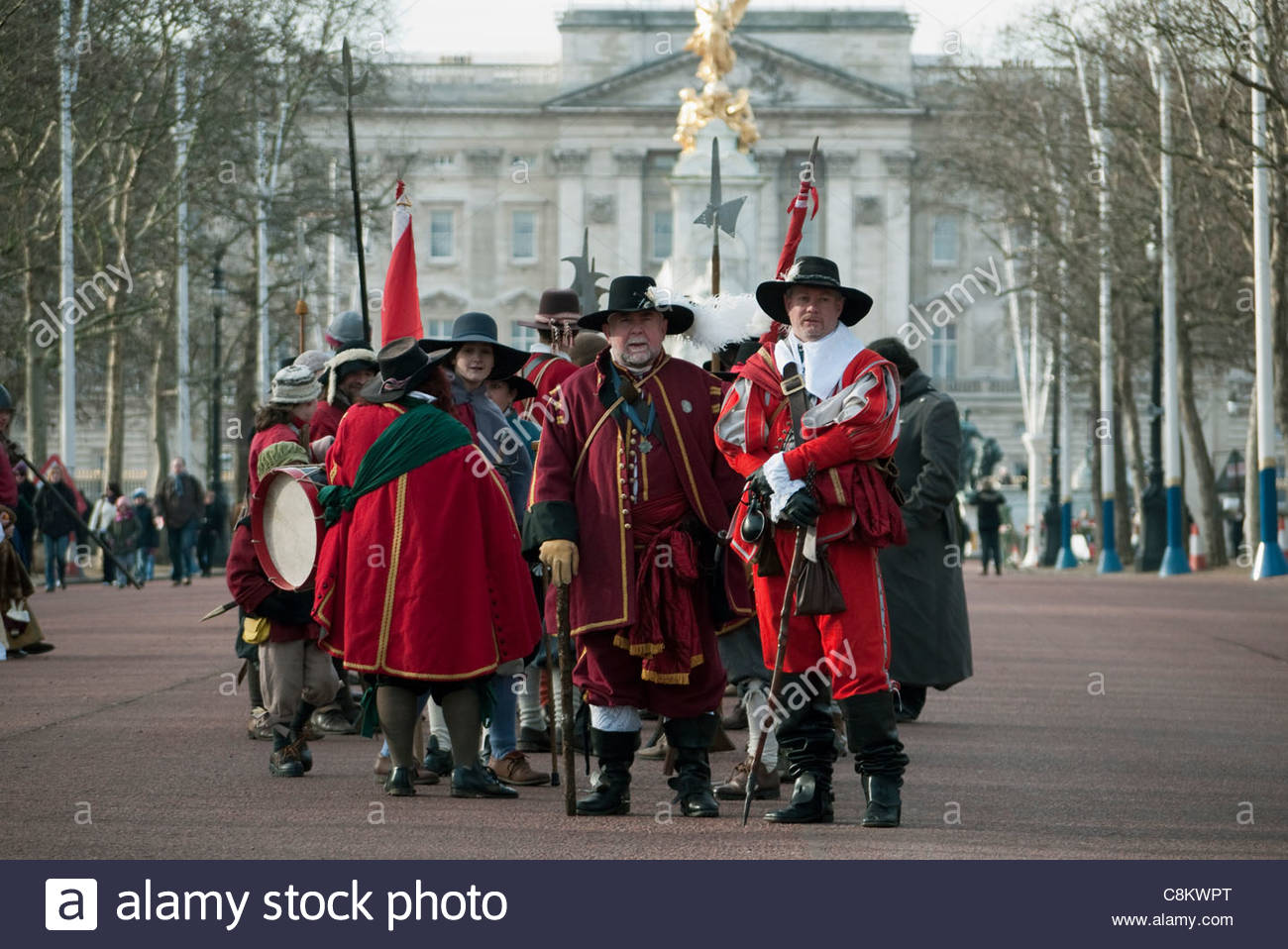 Londoners:The King's Army, a reenactment society, parade in London to commemorate the execution of King Charles - Stock Image