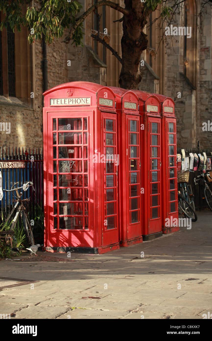 Traditional red telephone kiosks, Cambridge UK - Stock Image