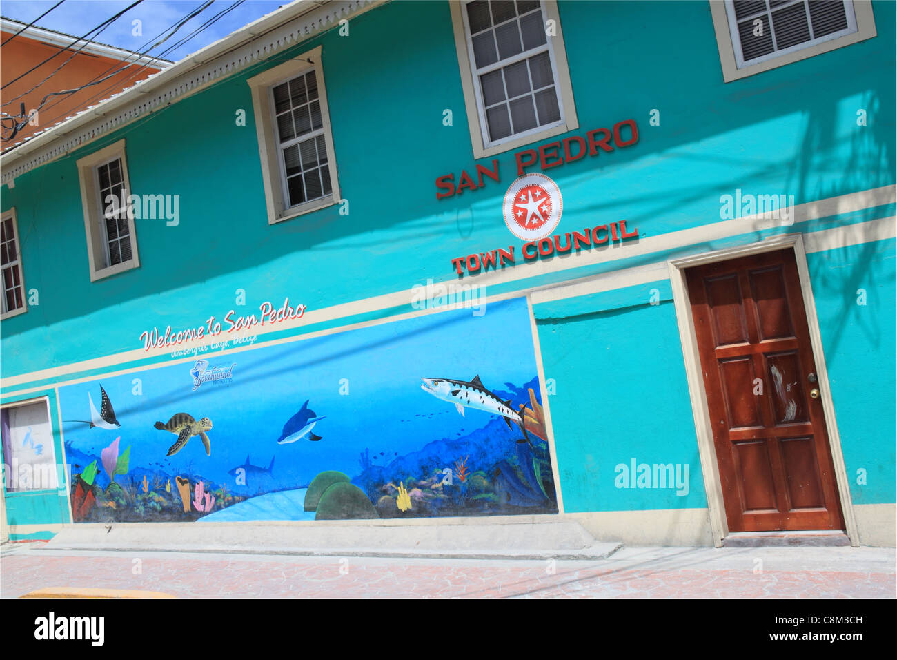 San Pedro Town Council building, Barrier Reef Drive, Ambergris Caye (aka La Isla Bonita), Barrier Reef, Belize, - Stock Image