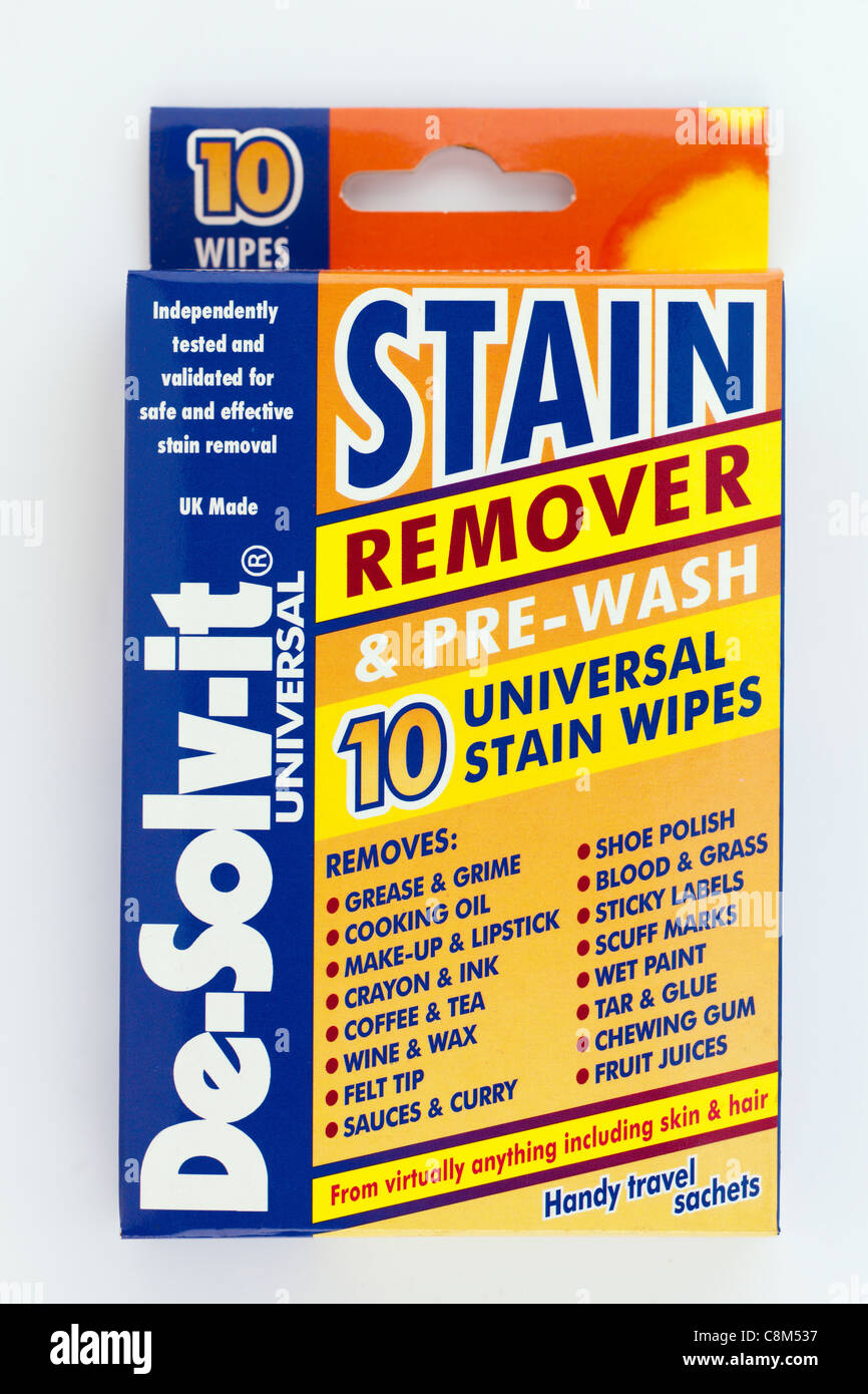 Box of 10 stain remover and prewash universal wipes handy travel sachets by De-solv-it - Stock Image