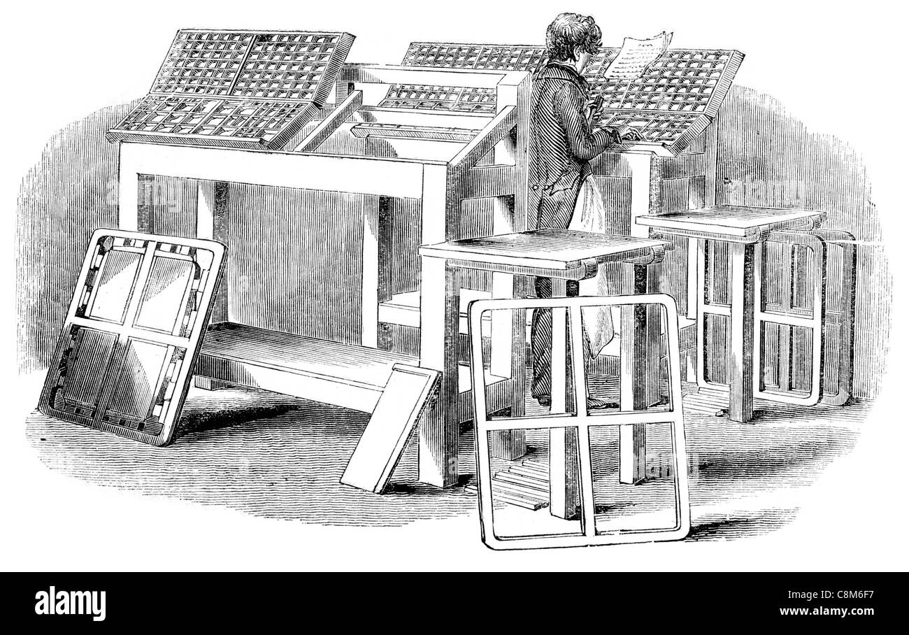 Implements used by the compositor printing machine press