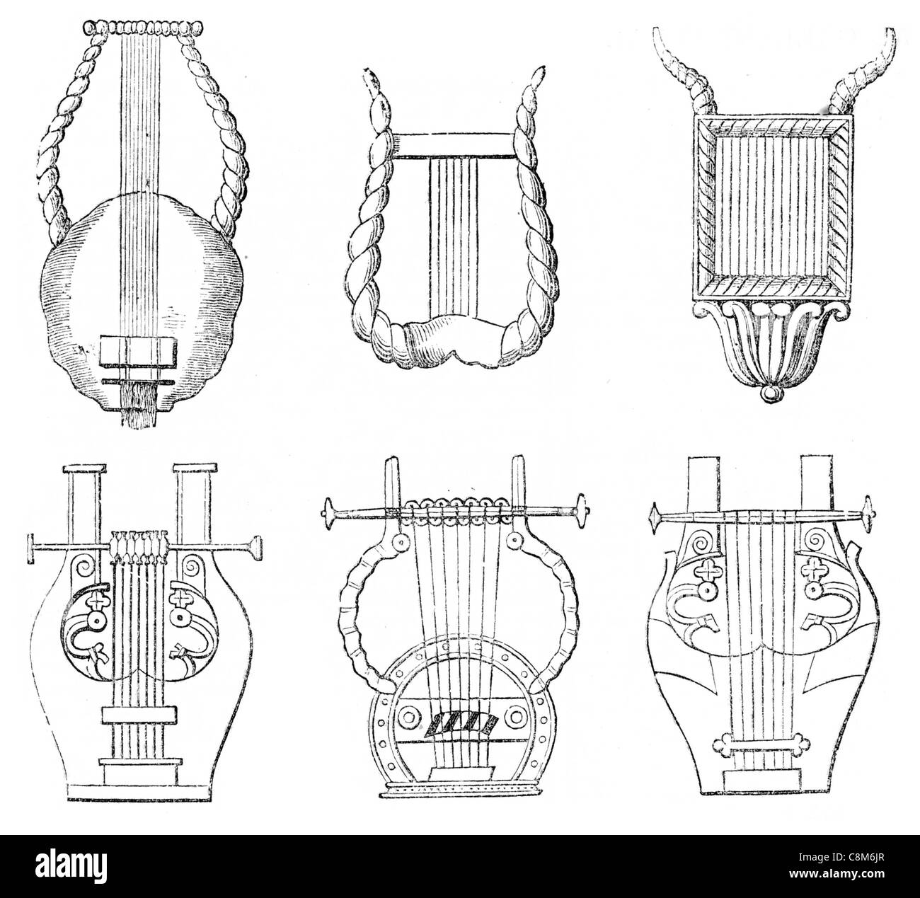 various forms of ancient lyre stringed musical instrument Greek classical antiquity strings playing music plectrum - Stock Image
