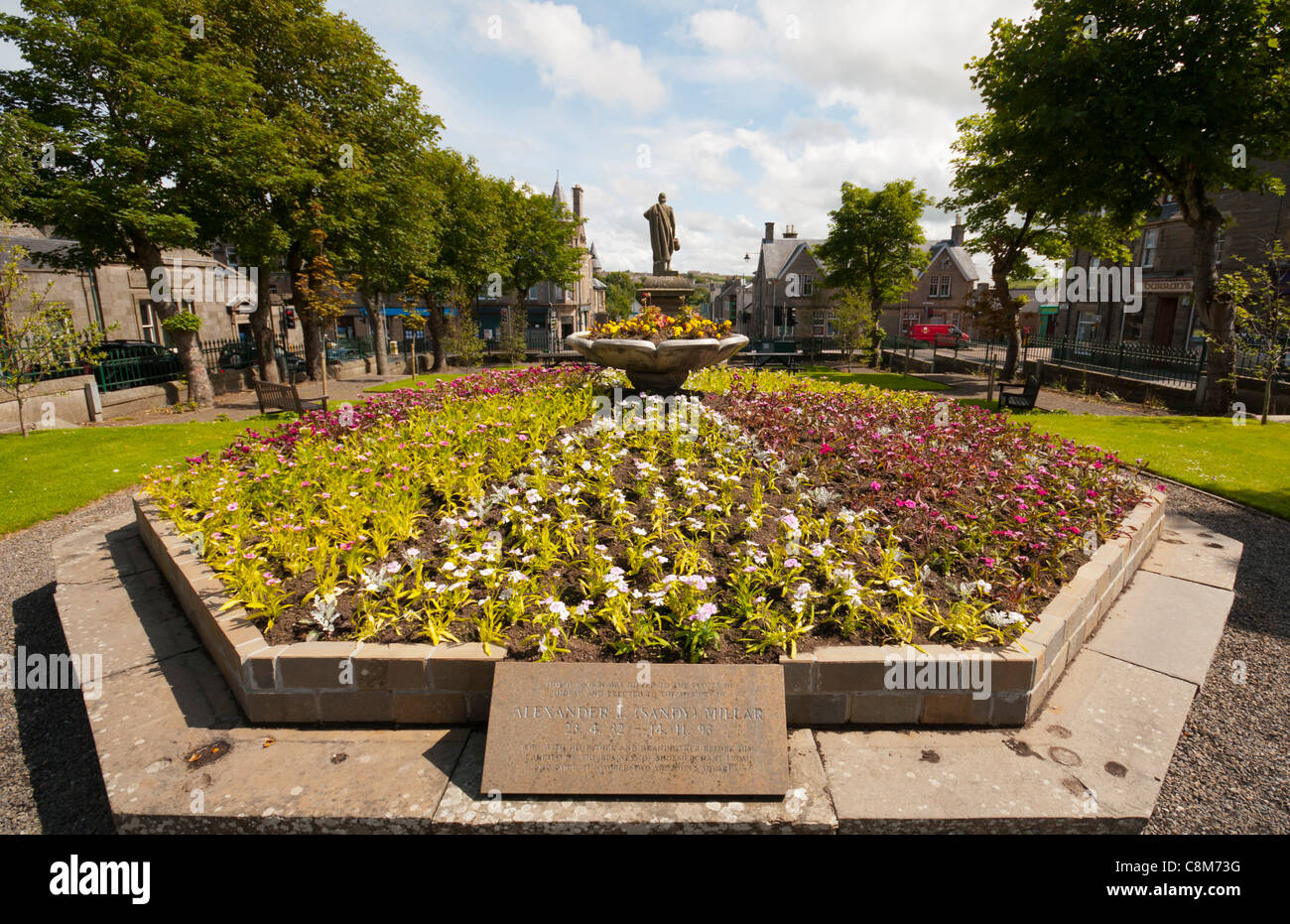 Floral display in Sir John's Square, Thurso, Caithness, Scotland, UK - Stock Image