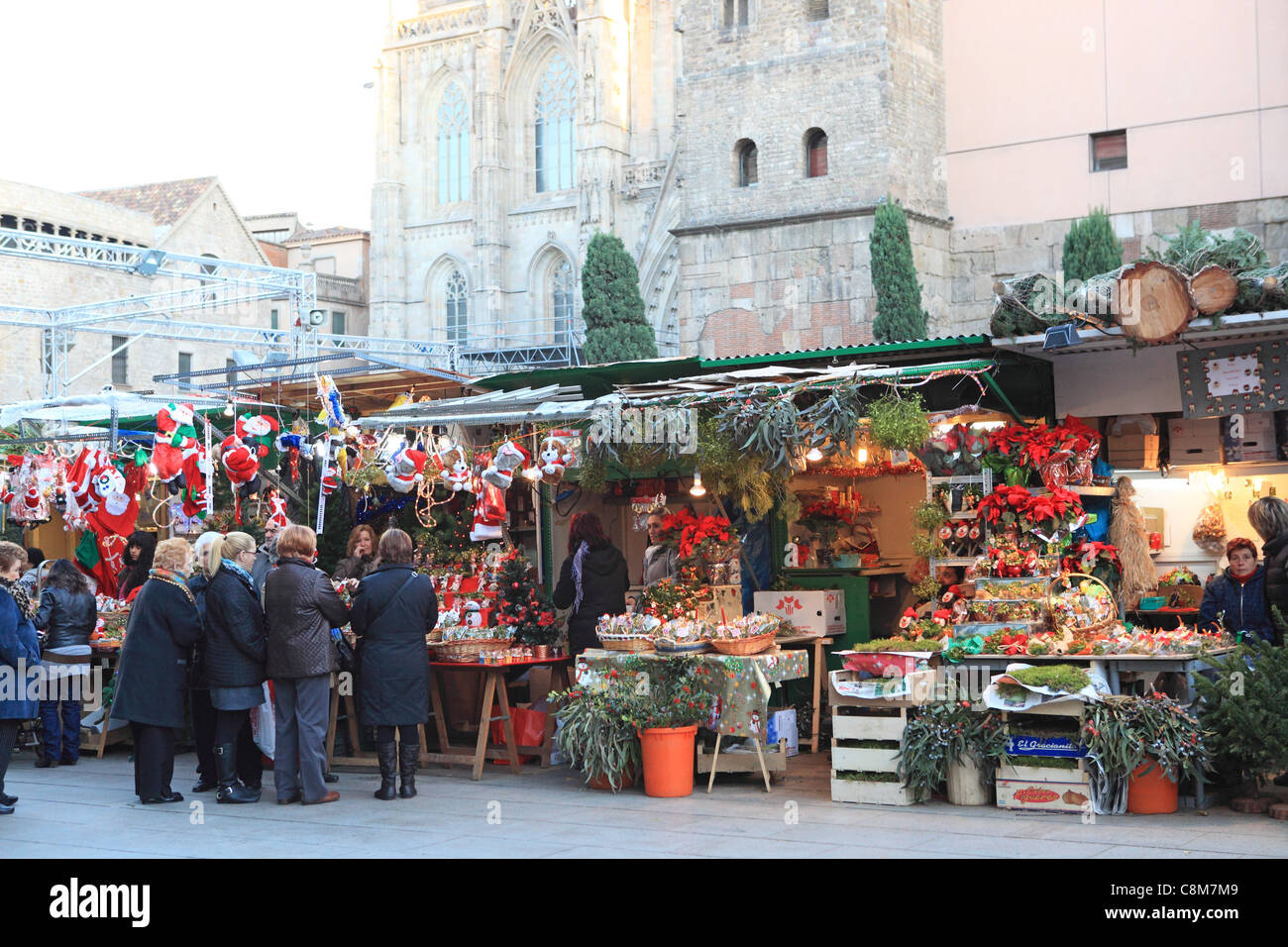Christmas Market, Fira de Santa Llucia, by the Cathedral, on Placa de la Seu, in the Gothic Quarter, Barcelona, - Stock Image