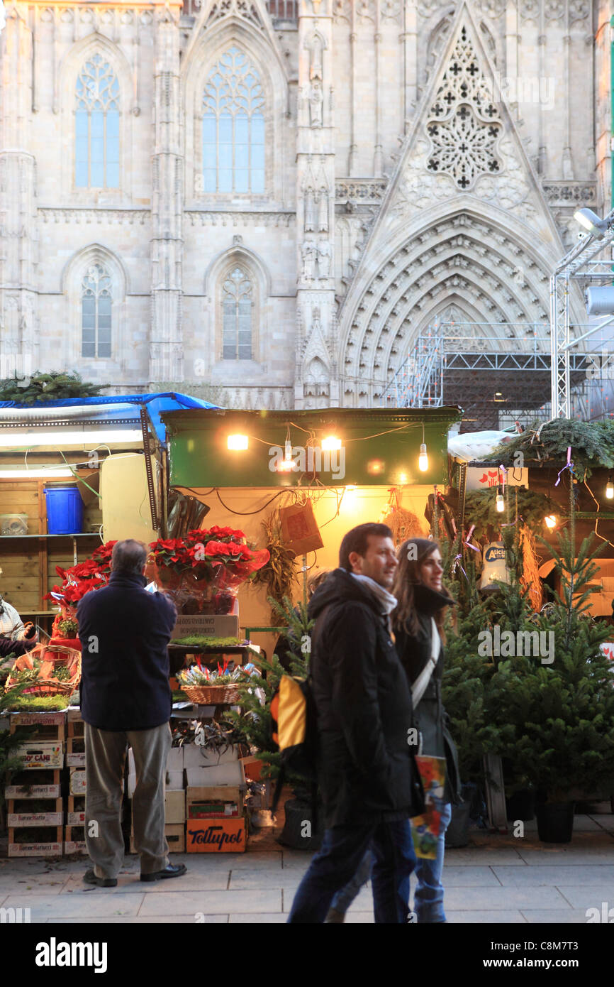 The Christmas Market, Fira de Santa Llucia, in front of the Cathedral, on Placa de la Seu, in the Gothic Quarter, - Stock Image