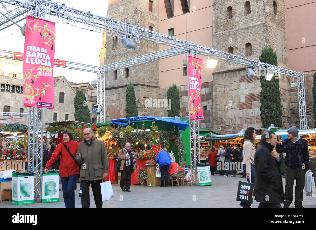 The Christmas market, Fira de Santa Llucia in front of the Cathedral, on Placa de la Seu, in the Gothic Quarter, - Stock Image