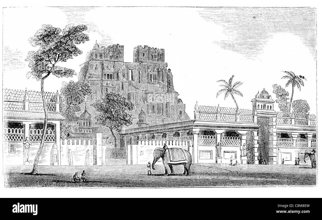 Hindoo Ramanathaswamy Temple Hindu god Shiva island Rameswaram Tamil Nadu India deity elephant complex - Stock Image
