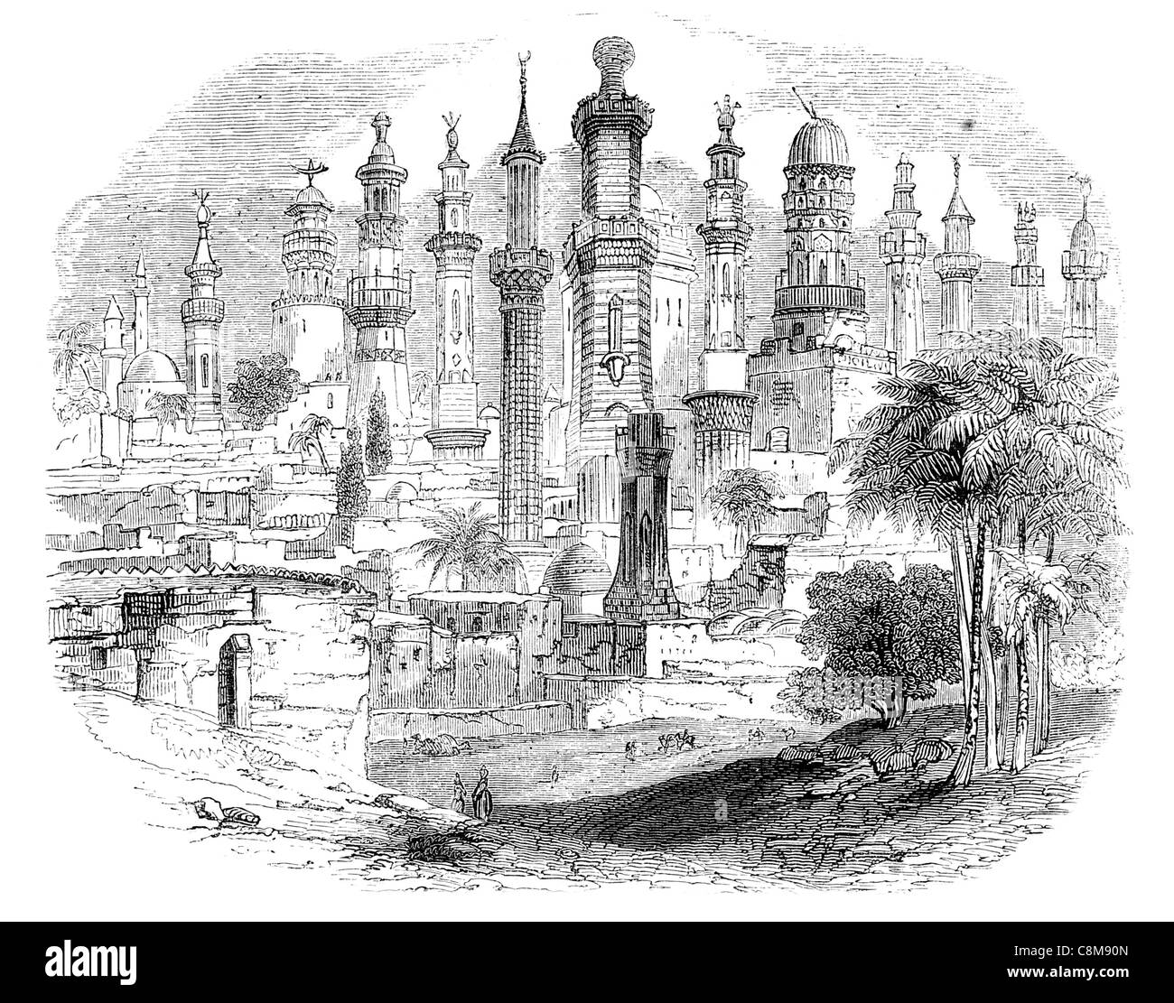 Group Minarets minaret Towers tower examples Oriental Turkish Islamic Stock  Photo - Alamy