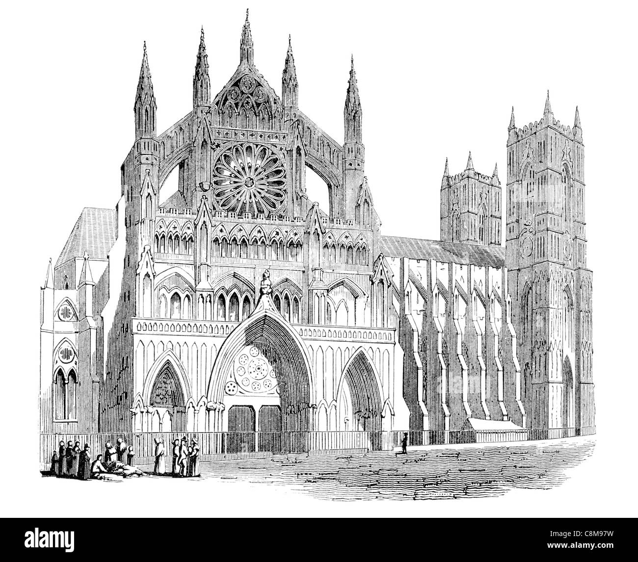 Northern Transept Western Entrance Collegiate Church St Peter Westminster Abbey interior Gothic London United Kingdom - Stock Image