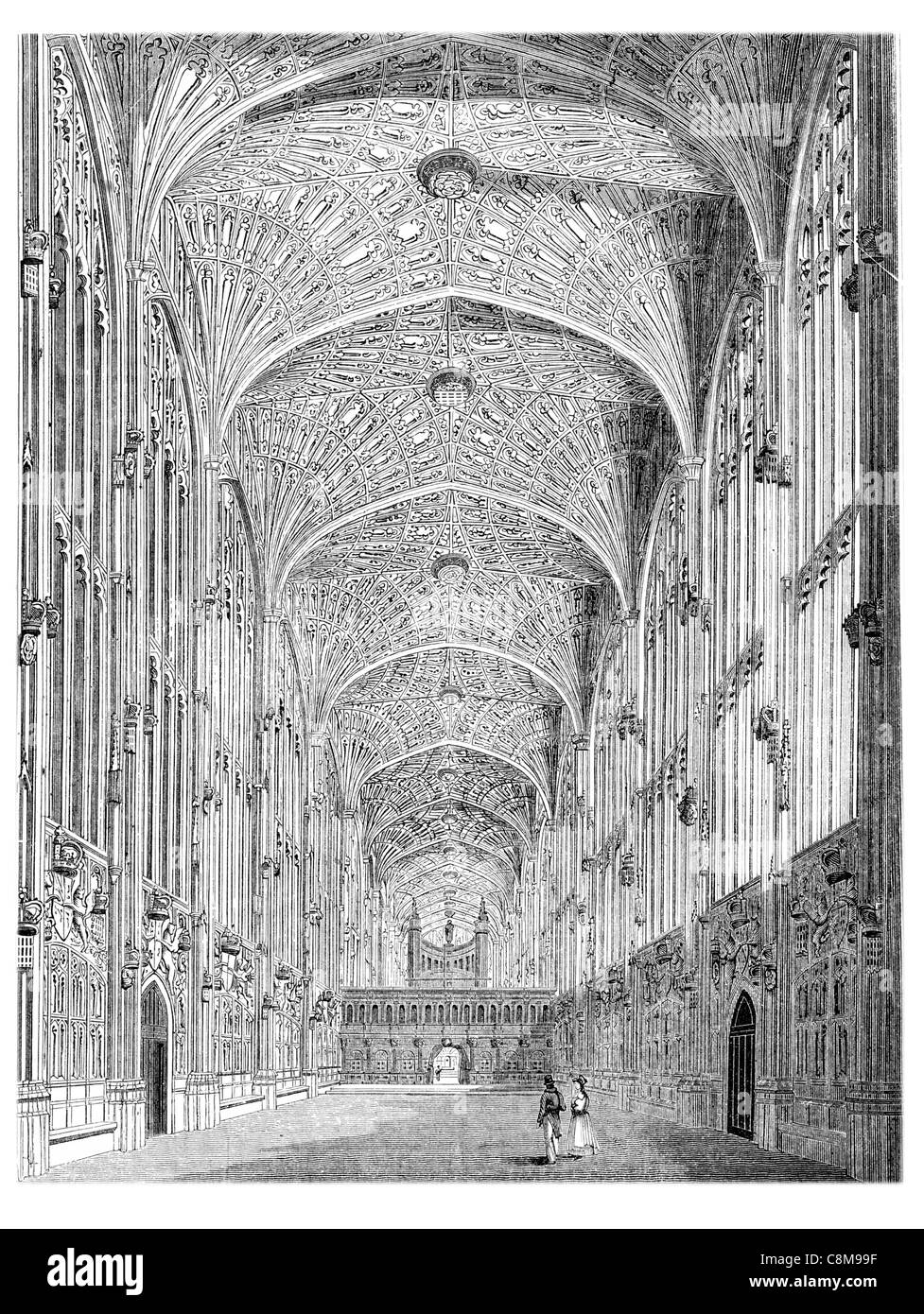King's College Chapel University Cambridge Gothic nave chancel church fine medieval Hall Interior vaulted ceiling Stock Photo