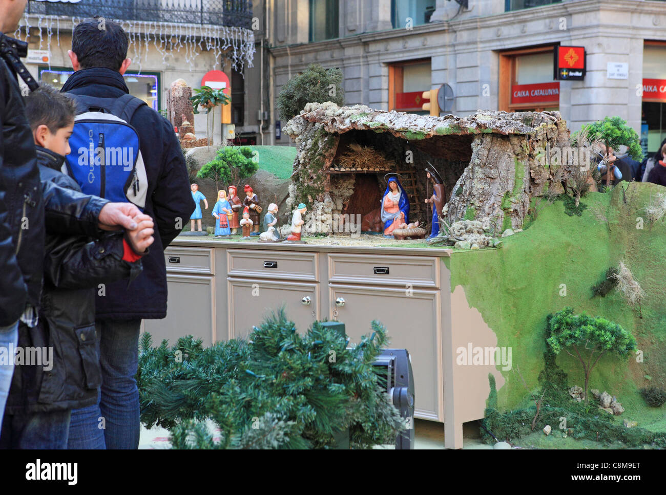The annual traditional nativity scene in Placa de Sant Jaume in the Gothic Quarter of Barcelona in Catalonia - Stock Image