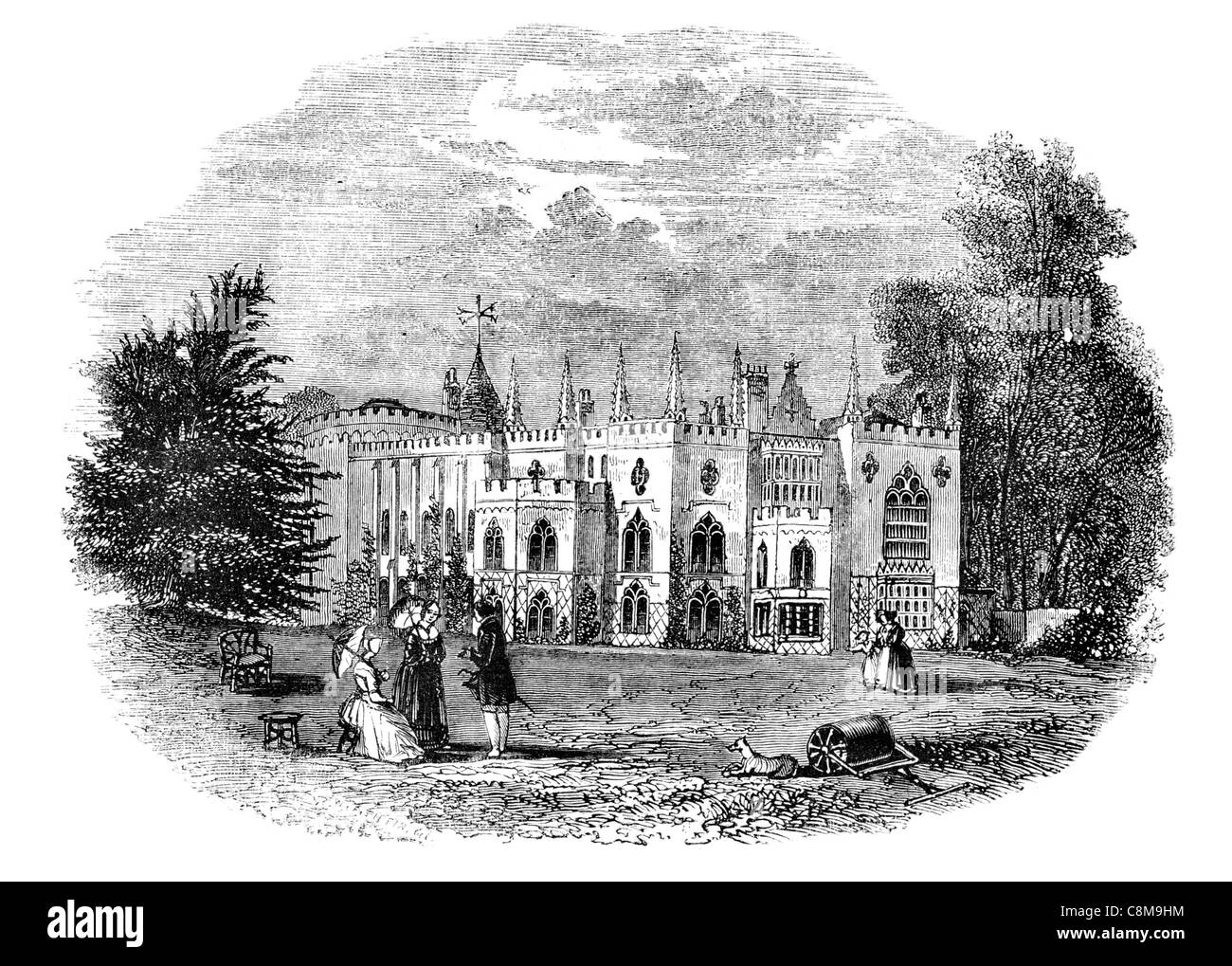 Strawberry Hill Gothic Revival villa Horace Walpole London Richmond Round Tower - Stock Image