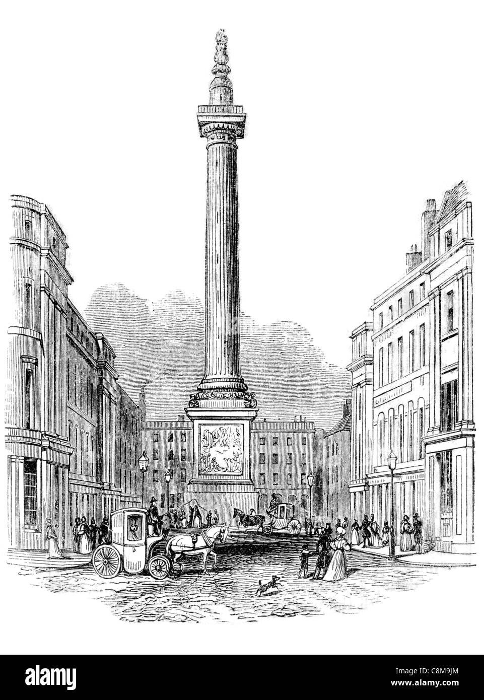 The Monument Great Roman Doric column City London England Fish Street Hill 1666 Christopher Wren Robert Hooke Portland - Stock Image