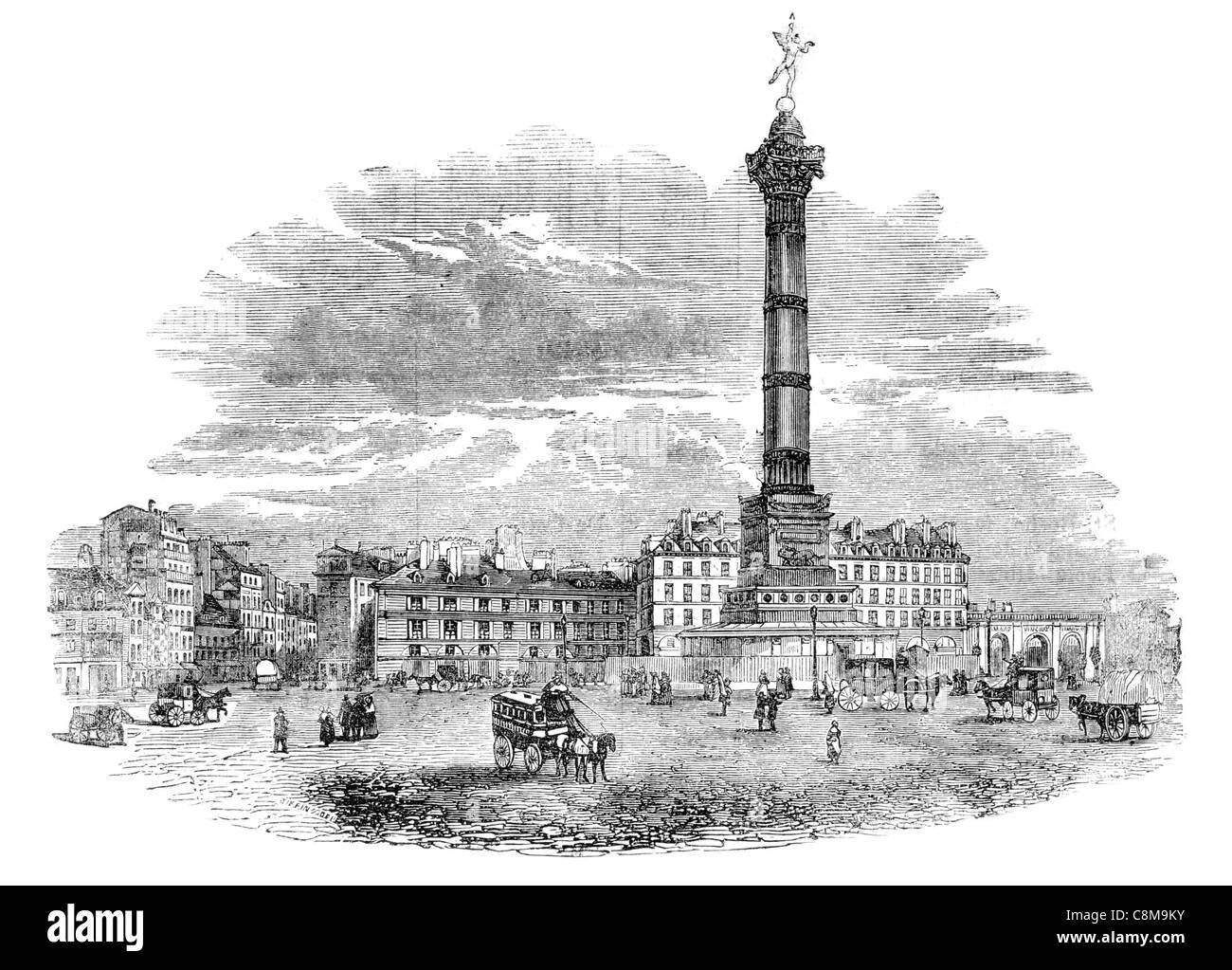 July Column Colonne de Juillet monument Revolution 1830 Place de la Bastille Paris Trois Glorieuses three glorious - Stock Image