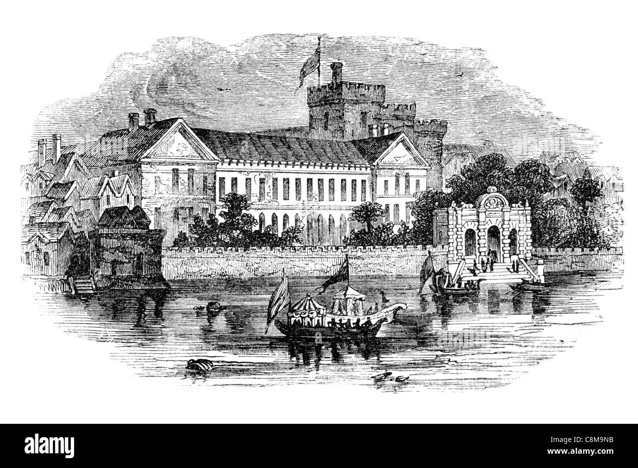 York House Palace Whitehall 17th Century Castle river bank boat London - Stock Image