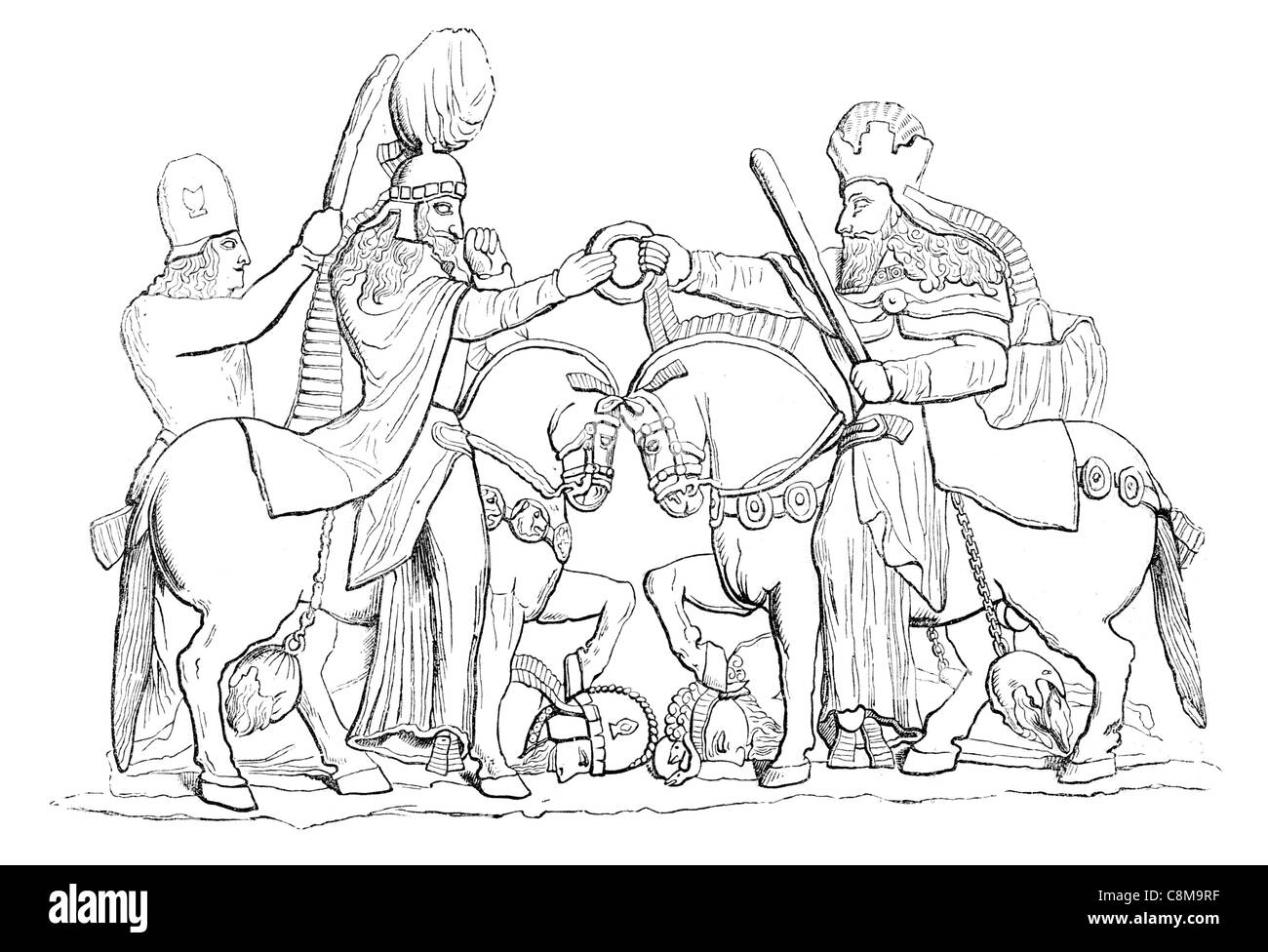 Persian Bas Relief At Perspolis cavalry horse saddle sword soldier warrior competition - Stock Image
