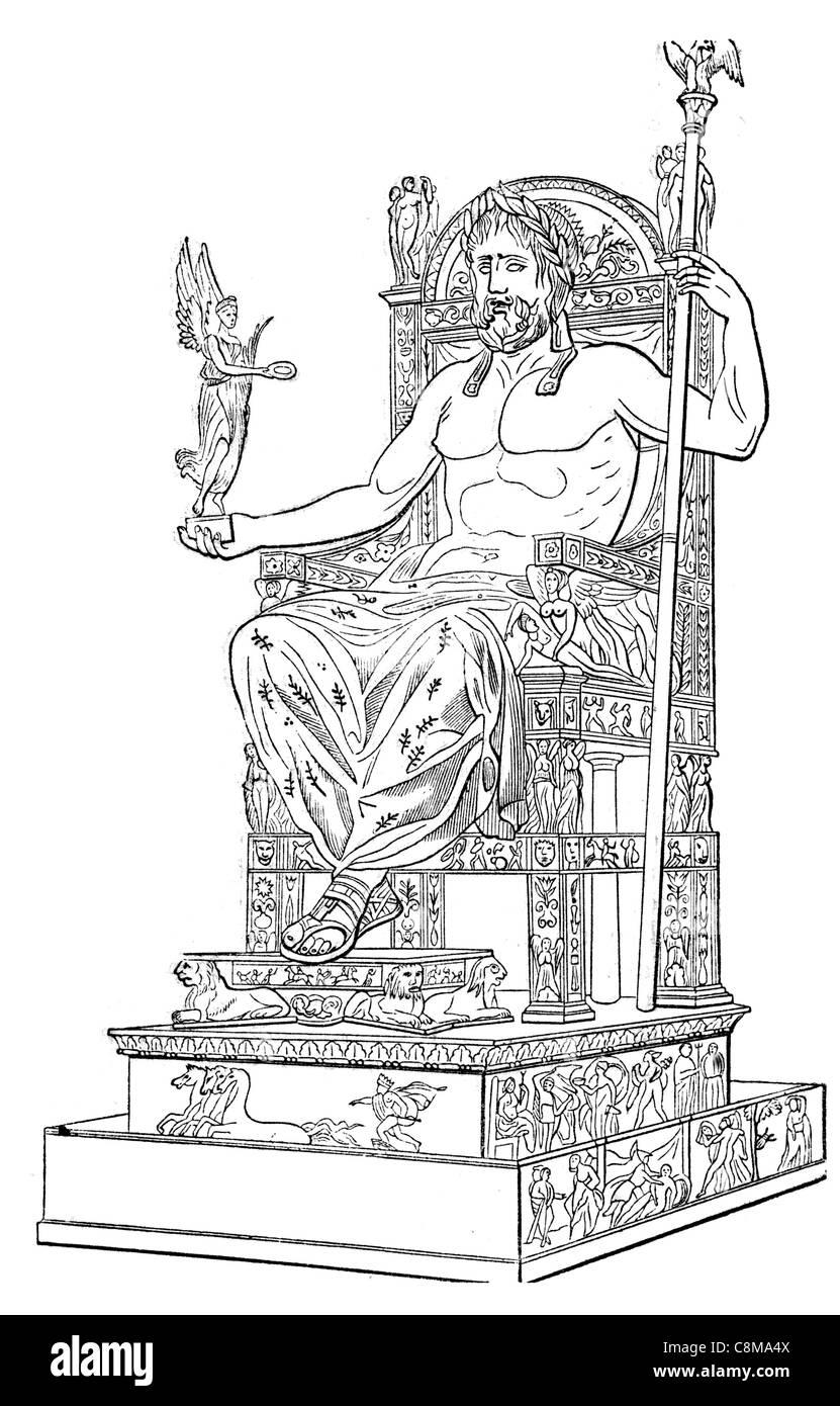 Olympus ancient Roman religion myth Jupiter Jove king gods god sky thunder sky-god wine festival sacred oak Capitol - Stock Image