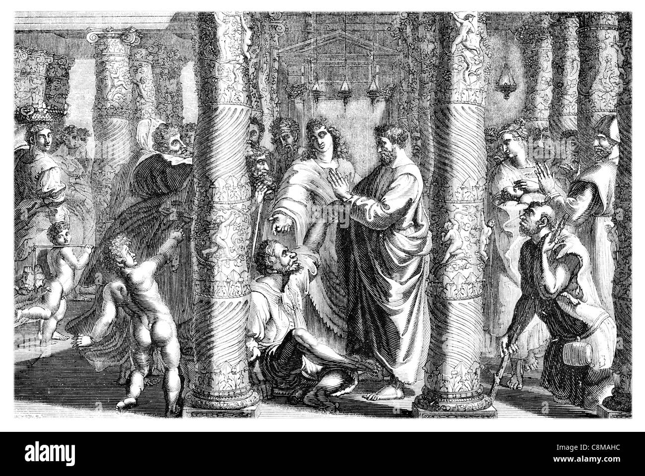 The Healing of the Lame Man Raphael Cartoons Victoria Albert Museum London High Renaissance Gospel Acts Apostle - Stock Image
