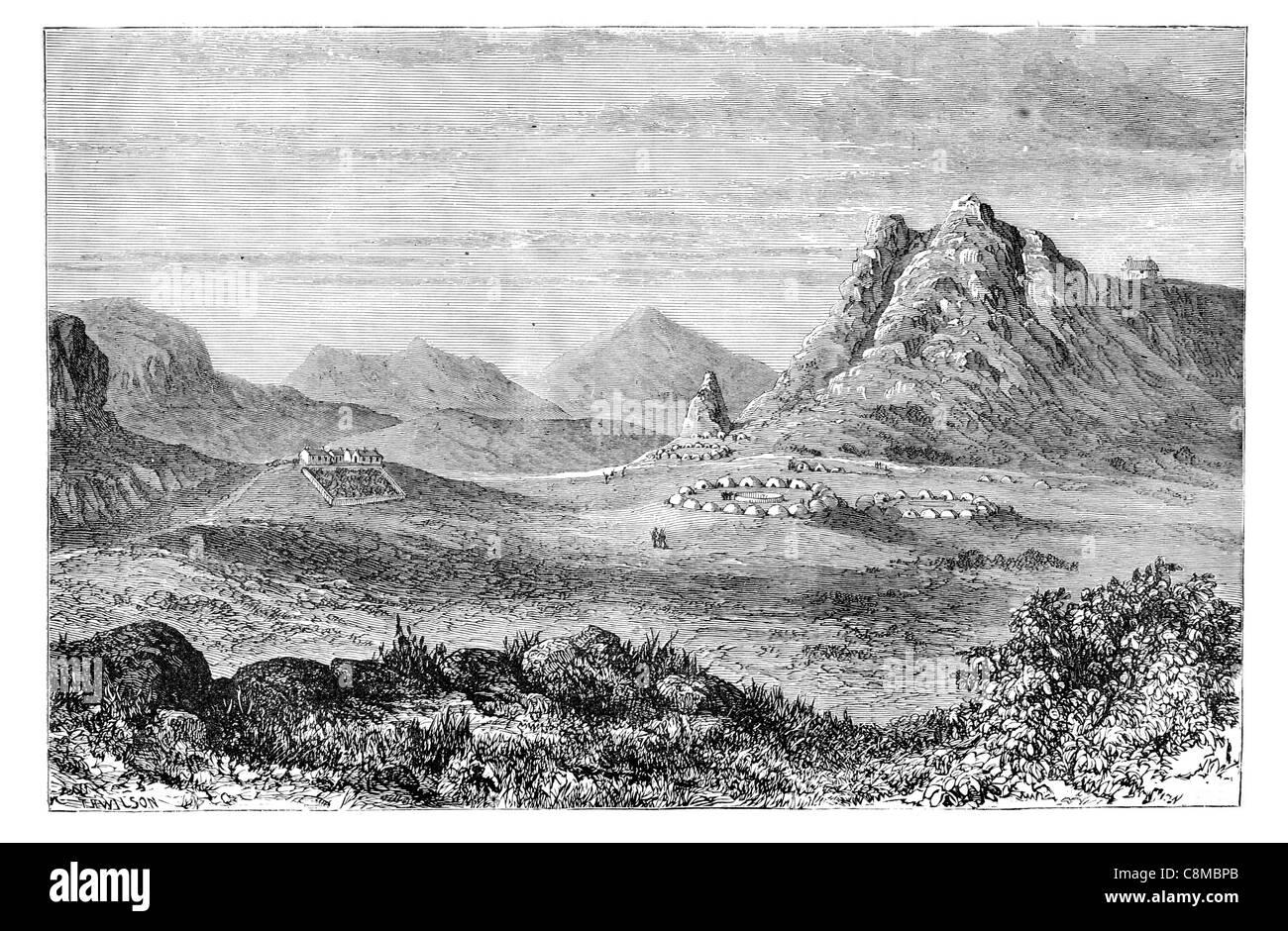 Thaba Bosiu plateau Caledon Rivers Maseru District Lesotho Basotho chief Moshoeshoe I stronghold Free State Basotho - Stock Image