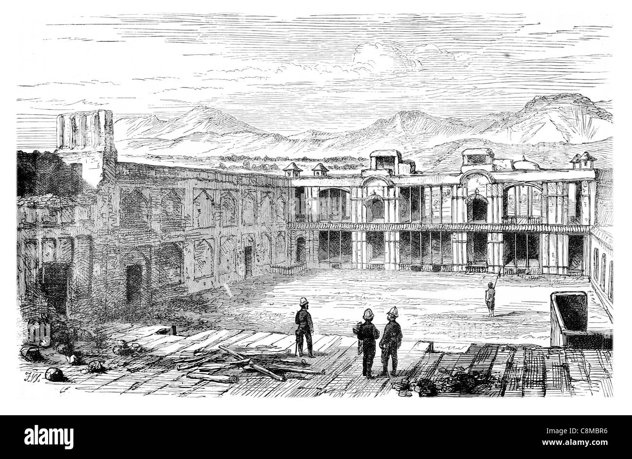 Interior British residency Cabul Barracks Barrack military accommodation housing blocks soldiers training camp - Stock Image