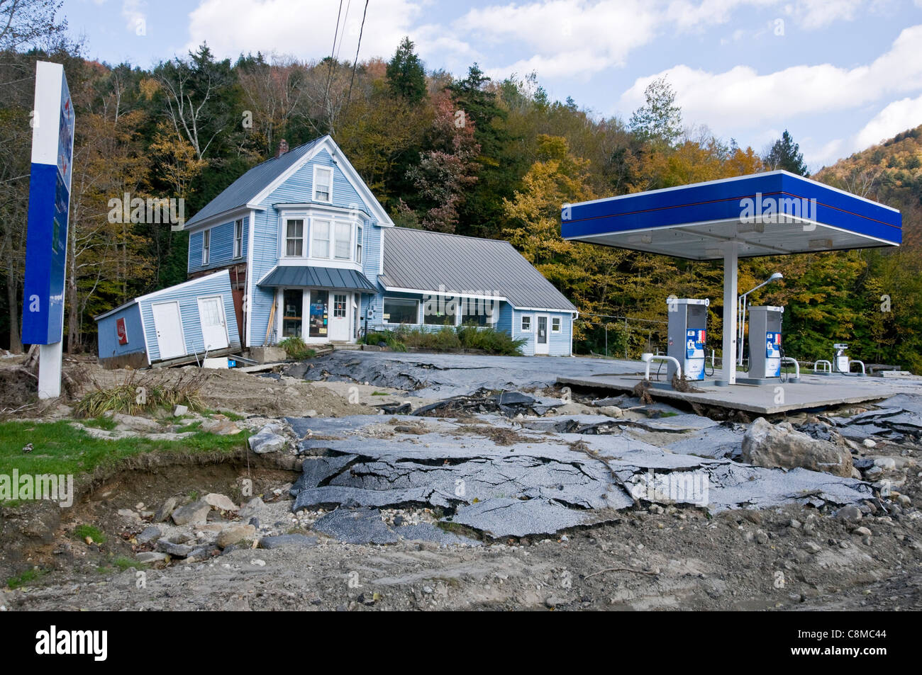 Destroyed gas station following tropical storm Irene In Vermont USA Autumn 2011 - Stock Image