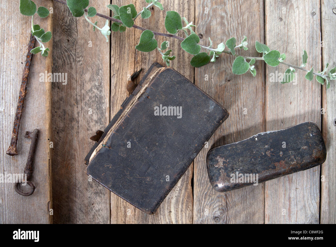Group of objects on wood - Stock Image