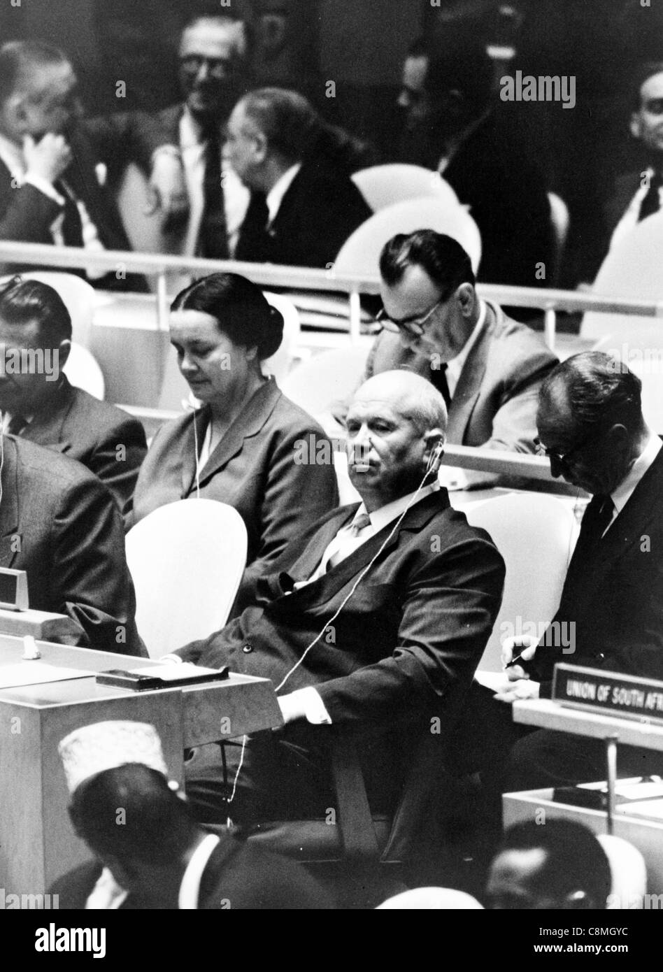 Nikita Khrushchev, leader of the Union of Soviet Socialist Republics, at a meeting of the United Nations General - Stock Image