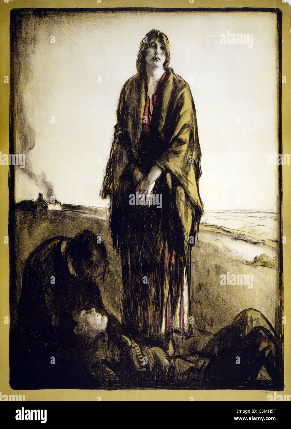 A woman stands disconsolate, as another bends over a dead soldier; a house burns in the background, war poster - Stock Image