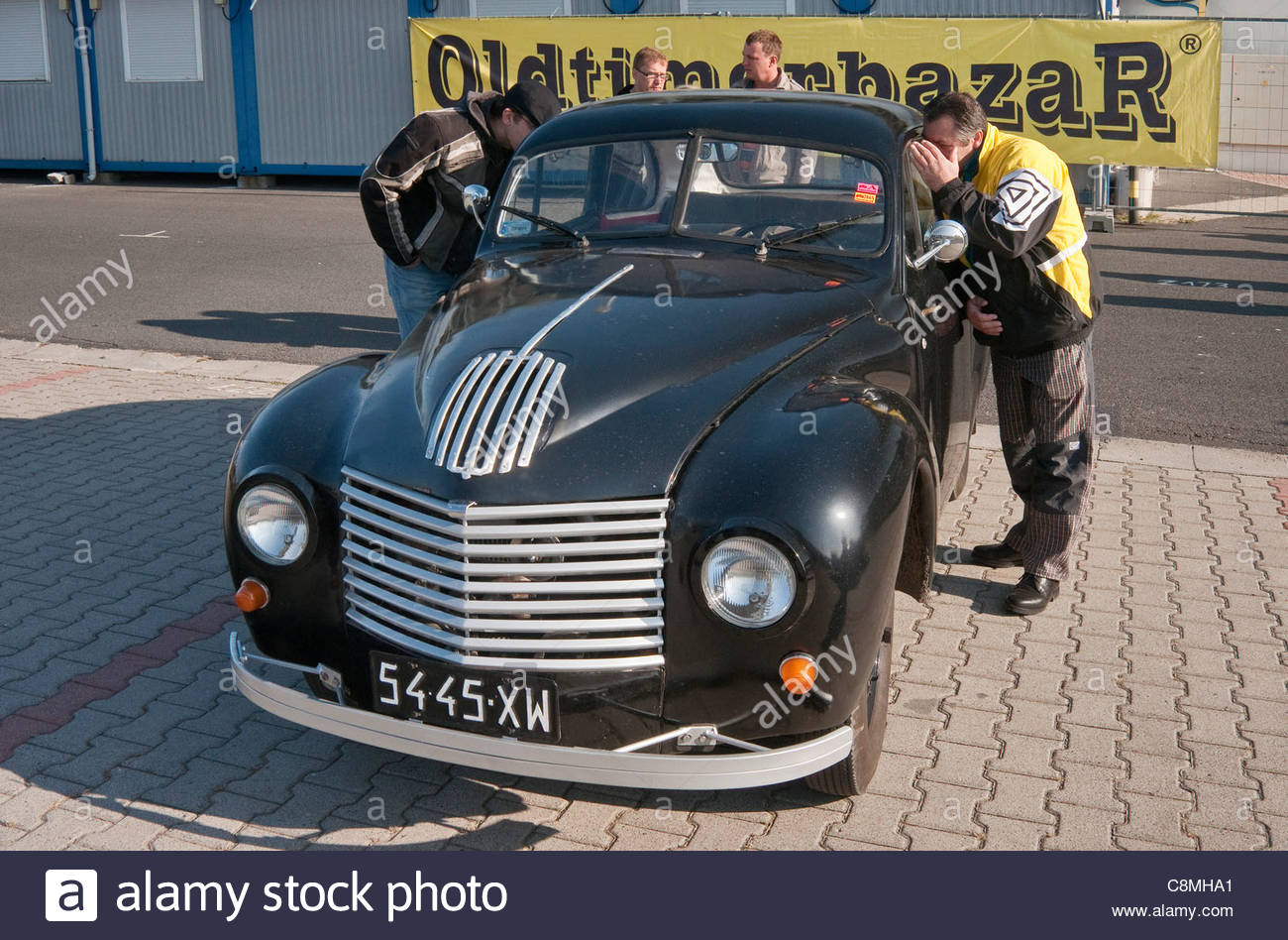 1947 Aero Minor, Czech car designed by Jawa Motors, Oldtimer Bazar fair in Wroclaw, Lower Silesia, Poland Stock Photo