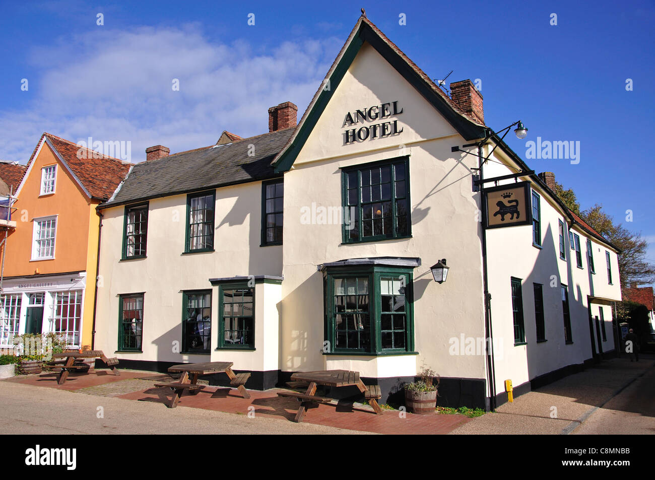 15th century The Angel Hotel, Market Square, Lavenham, Suffolk, England, United Kingdom Stock Photo