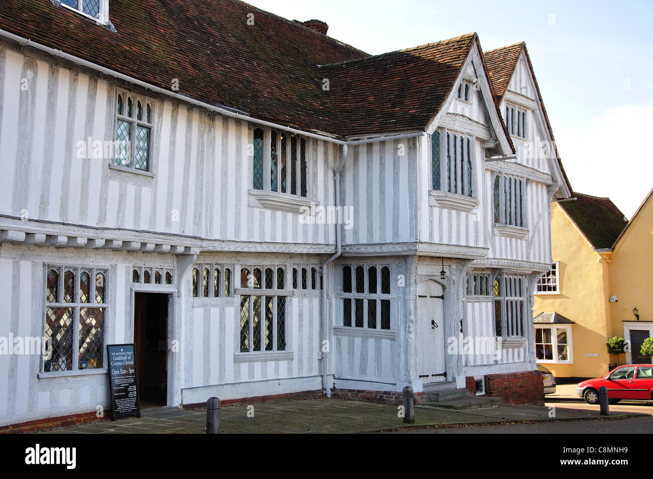 16th century Guildhall of Corpus Christi, Market Square, Lavenham, Suffolk, England, United Kingdom - Stock Image