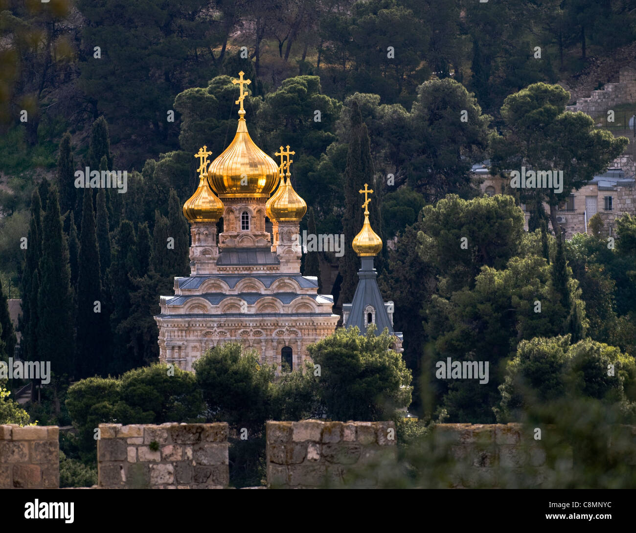 The beautiful , Onion dome shaped , Russian Orthodox church of Maria Magdalene on the slopes of the Mt. of Olives - Stock Image