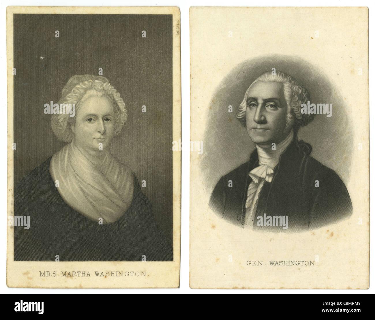 Carte De Visite Style Cards For Martha And George Washington