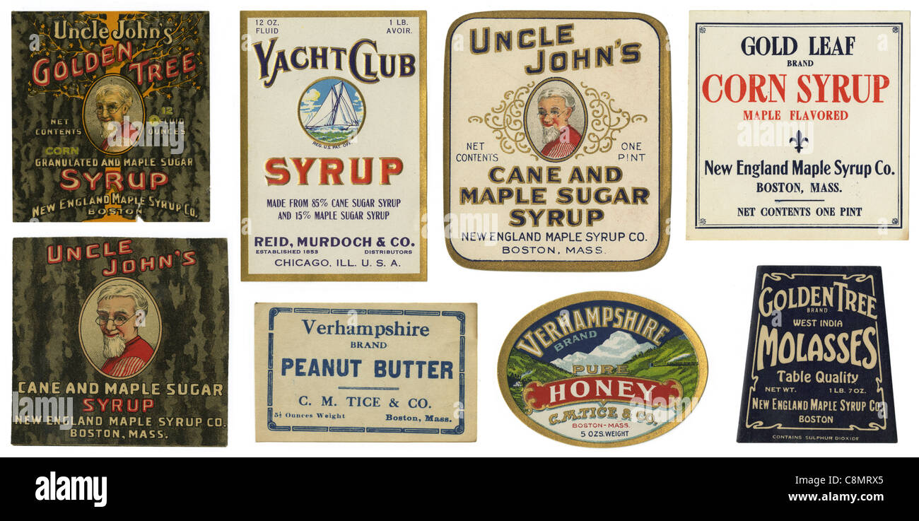 Circa 1910s antique labels. - Stock Image