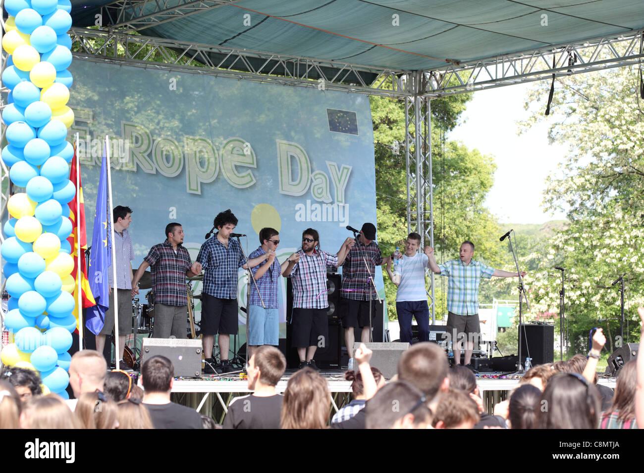 SUPERHIKS performs on EuropeDay celebration in the City Park in Skopje, Macedonia - Stock Image