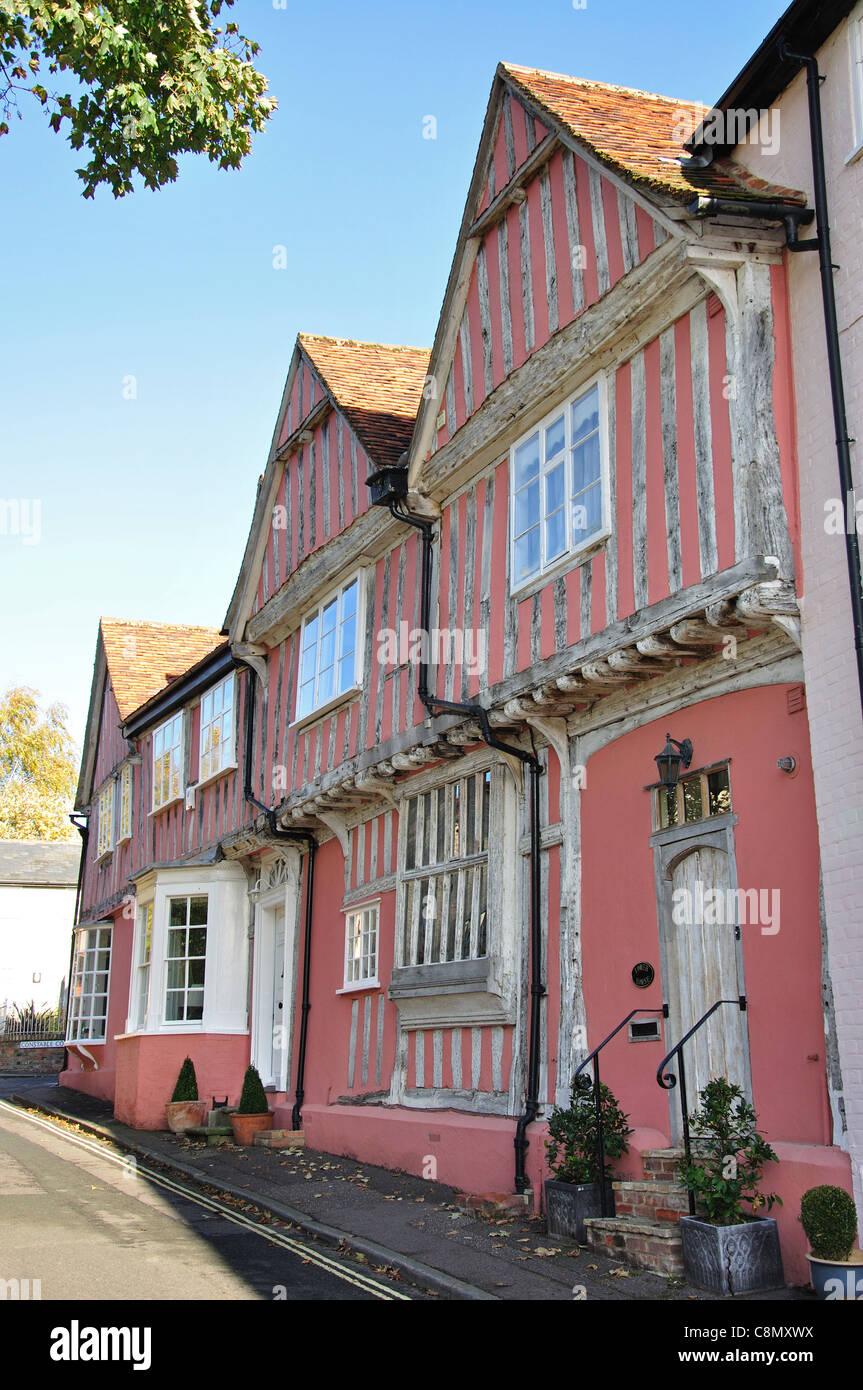 Half-timbered medieval Old Grammar School, Barn Street, Lavenham, Suffolk, England, United Kingdom Stock Photo