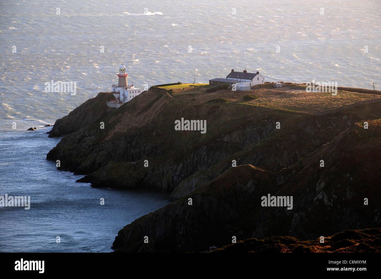 The Bailey Irish Lighthouse on howth head co Dublin overlooking Dublin Bay - Stock Image